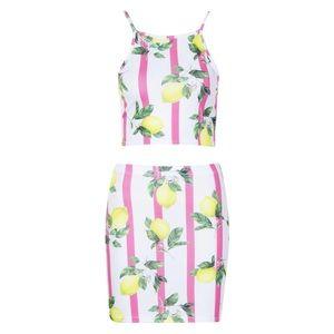 Boohoo matching set bralet & mini skirt NWT